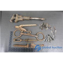 Assorted Vintage Items: Wrench, Bits, Skeletion Keys, Etc.