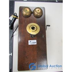 """Vintage 20"""" Wooden Wall Phone"""