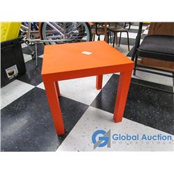 Small Orange Wooden Side Table