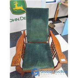 Vintage Oak Adjustable Back Arm Chair