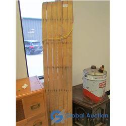"""Vintage Wooden Tobaggan - 70"""""""