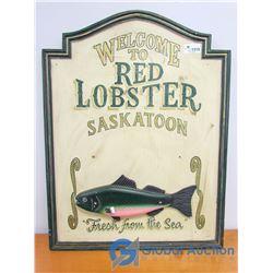 Wooden Red Lobster Saskatoon Sign