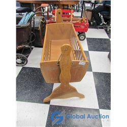 Vintage Wooden Rocking Doll Cradle