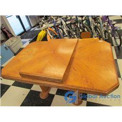 Large Oak Dining Table w/ Leaf