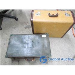 Vintage Aeropack Tan Leather Suitcase & Fiberboard Suitcase