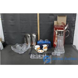 Crystalware, Glass Bowl and Sugar & Creamer Set