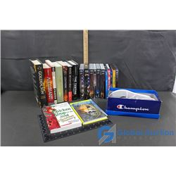 Assortment of Books, Movies & Champion Shoes Size 3&1/2