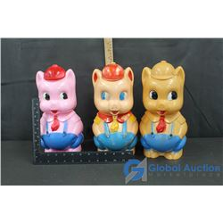 (3) Plastic Piggy Banks - Bid Price x3