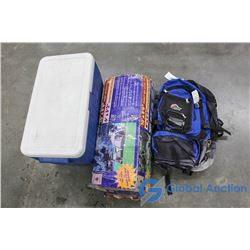 Coleman Cooler, Tent and Backpack