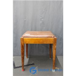 Wooden Leather Top Storage Bench