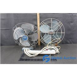 (2) Vintage Table Fans and Power Bar