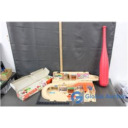 "Vintage Items: The ""Original ""Fat Bat"" Plastic Bat, Hot Wheels Garage Center, & Zoo Hand Printed Mus"