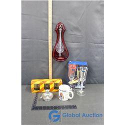 "Millennium Luminarc Glass Set, Texaco Dealer 3-pcs. Glassware Set, ""Dad"" Coffee Cup, Glass/Wall Deco"