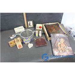 Vintage Copper Tiles, Fire King Glassware, Decorative Box, Mini Radio Bank, Key & Misc. Items