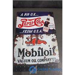 Pepsi and Mobioil Tin Repo Signs