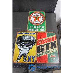 Texaco, Castrol and Michelin Tin Repo Signs