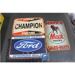 Ford, Mack Truck, and Champion Tin Repo Signs
