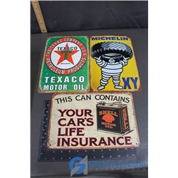 Texaco, Michelin and Shell Tin Repo Signs