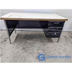 Vintage Metal Office Desk w/ 3 Drawers