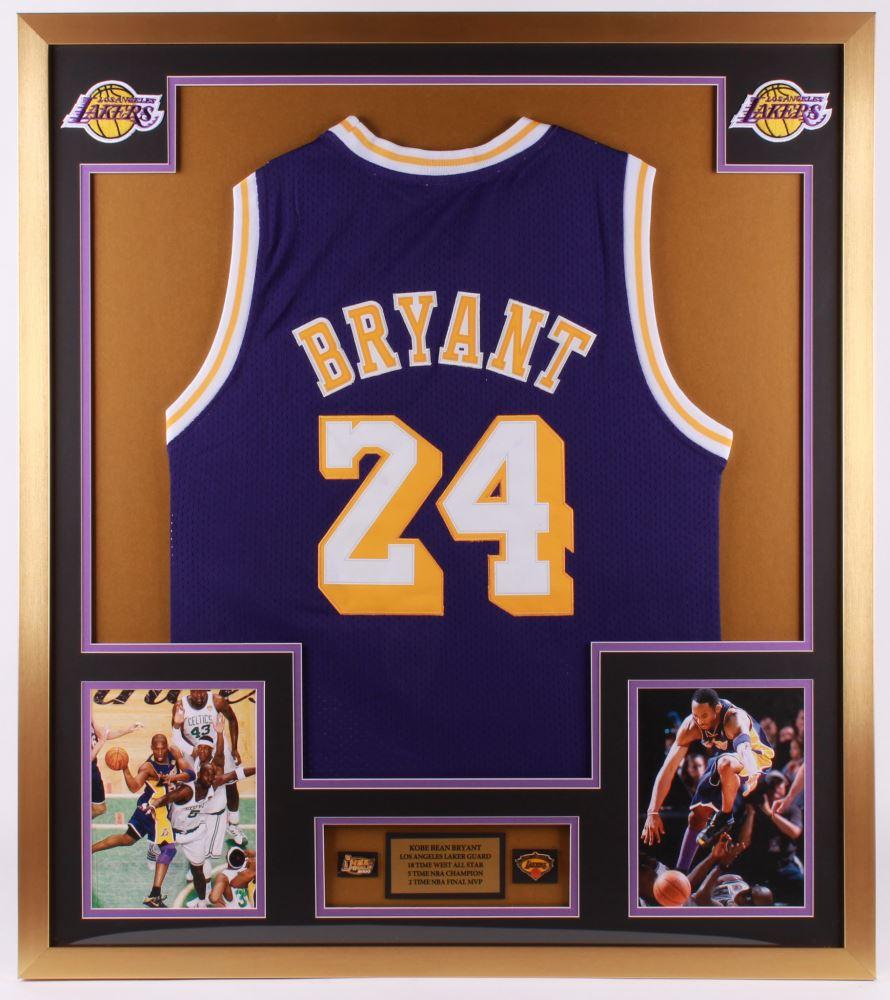 Kobe Bryant 32x36 Custom Framed Jersey Display with (2) Pins