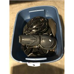 RUBBERMAID CONTAINER FILLED WITH ASSTD BIKING ACCESSORIES