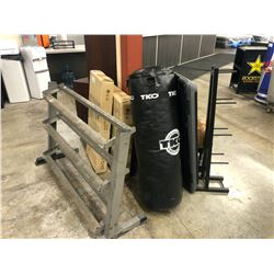 DUMBBELL, MEDICINE BALL, PLATFORM, WEIGHT RACK, PUNCHING BAG