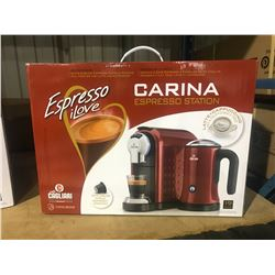 """UNEEK BRANDS"" RED CAFFE CAGLIARI CARINA ESPRESSO MACHINE WITH MILK FROTHER"