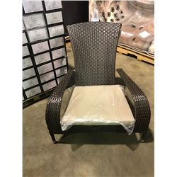 PATIO FLARE PF-CH338-BR WICKER BROWN / BEIGE FABRIC MUSKOKA OUTDOOR PATIO CHAIR