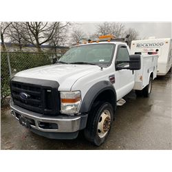 2009 FORD F450 SUPERDUTY, WHITE, PICKUP, DIESEL, AUTOMATIC, VIN#1FDGF47RX9EB16570, 276,952KMS,