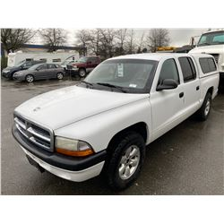2004 DODGE DAKOTA, WHITE, QUAD CAB PICKUP, GAS, AUTOMATIC, VIN#1D7HL38K14S700028, 205,228KMS,