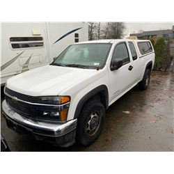 2004 CHEVROLET COLORADO, 2DR EXT CAB, WHITE, GAS, AUTOMATIC, VIN#1GCDT196X48224812, 191,162KMS,