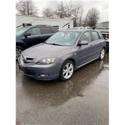 2007 MAZDA 3, 4DRHB, GREY, GAS, MANUAL, VIN#JM1BK343071756814, 222,394KMS,