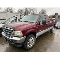 2004 FORD F-350 XLT, EXT CAB PU, RED, DIESEL, AUTOMATIC, VIN#1FTSX31P94ED79963, 382,202KMS,