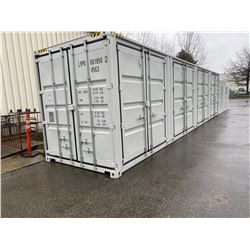 "BRAND NEW 40FT STORAGE SHIPPING CONTAINER WITH 4 SIDE DOORS AND 1 REAR DOOR, 9'6"" TALL"