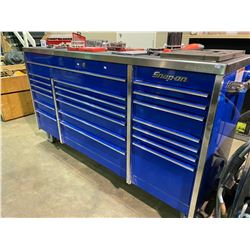 BLUE SNAP-ON  20 DRAWER MOBILE TOOL CABINET WITH STAINLESS TOP WITH TOOL CONTENTS
