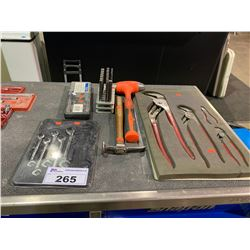4 BLUEPOINT CHANNEL LOCK PLIERS & SNAP-ON WRENCHES & DIGITAL CALIPER &  PUNCHES AND SNAP-ON HAMMER