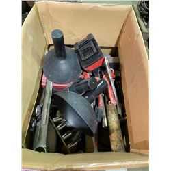 BOX OF MISC TOOLS WRENCHES & SOCKETS