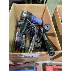 BOX OF HEAT GUNS, BODY WORK HAMMERS & MISC TOOLS