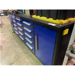 BLUE STEELMAN 10FT 15 DRAWER WORK BENCH