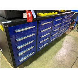 BLUE STEELMAN 10FT 25 DRAWER WORK BENCH