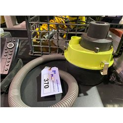 12V CAR VACUUM & CRATE WITH SONAR SCANNER & LIGHT AND ASSORTED TOOLS