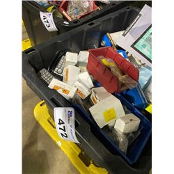 BIN OF ASSORTED PROPANE TORCHES & PHONES WIRE CLIPS