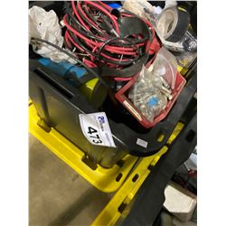 BIN OF ASSORTED CABLE & TAPE AND MORE