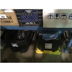 3 BINS AND TRAVEL CASE WITH CONTENTS