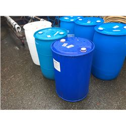 3 ASSORTED COLOR PLASTIC BARRELS