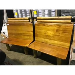 PAIR OF RUSTIC WOODEN 2 PERSON BENCHES