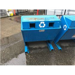 BLUE METAL INDUSTRIAL FREESTANDING 2 BAY BOTTLES AND CANS RECYCLE STATION