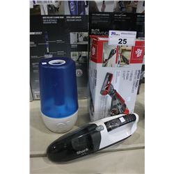 DIRT DEVIL UPRIGHT/HAND VACUUM, SHARK HAND VACUUM, HUMIDIFIER