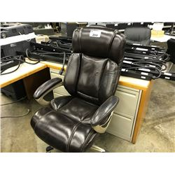 DARK BROWN LEATHER TUFTED HI-BACK EXECUTIVE CHAIR
