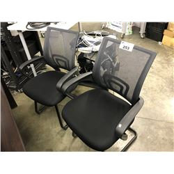 2 BLACK MESH BACK CLIENT CHAIRS
